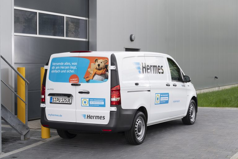 Mercedes-Benz eVito operated by Hermes (Photo: Mercedes-Benz Vans)emobility e-mobility electric transporter delivery van zero emission