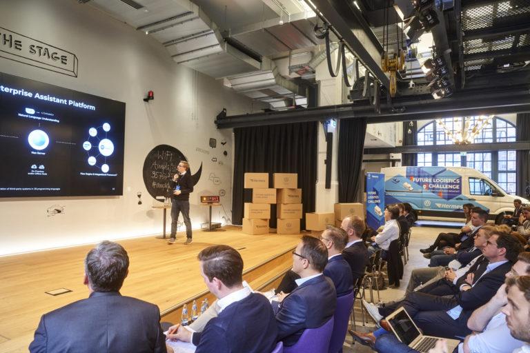 Pitch of one of the day's winners of the Future Logistics Challenge: Philipp Csernalabics, Co-Founder & CXO of Neohelden GmbH.hermes europe; future logistics challenge; innovation; volkswagen commercial vehicles; 2019