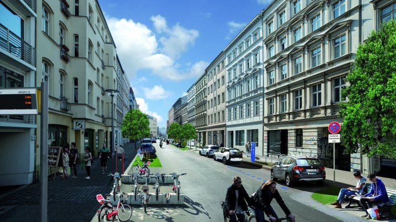 Weniger Autos, mehr Platz für Fahrräder und Ruhezonen: Für das Projekt First Mover wurde visualisiert, wie sich das Straßenbild verändern würde, wenn zumindest einige Anwohner auf ein eigenes Auto verzichten. (Foto: firstmover.hamburg)
