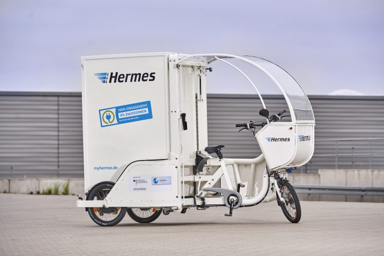 Das E-Cargobike Rytle Movr setzt Hermes ab Juni 2018 testweise in Berlin ein. (Foto: Hermes)  lastenrad fahrrad zustellung