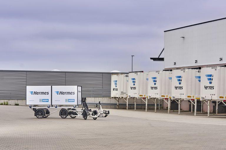 Das Hermes E-Cargobike Velove Armadillo kommt testweise in Berlin zum Einsatz. (Foto: Hermes)lastenrad fahrrad zustellung komodo