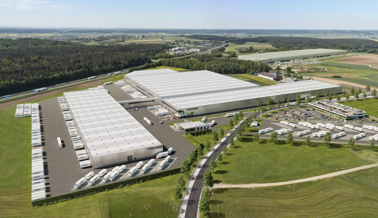 Visualisierung des Hermes Logistik-Center (LC) in Ansbach, Bayern (Bild: ECE)  HES HF fulfilment hermes einrichtungs service 2-mann-handling 2mann großstück möbel