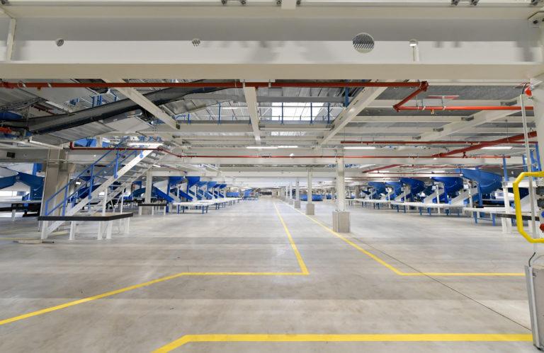 Die Fördertechnik im neuen Hermes Logistik-Center in Leipzig. (Foto: Hermes)LC-Eröffnung, Hermes, Zustellung, Fördertechnik