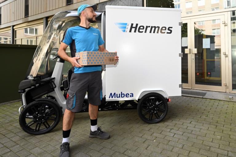 Rund 70 Sendungen wurden mit dem eCargo täglich im Schnitt zugestellt. (Foto: Hermes)  Lastenrad; Fahrzeuge; Leipzig; City-Logistik; Nachhaltigkeit